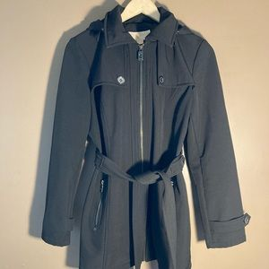 Michael Kors black softshell hood belt trench coat